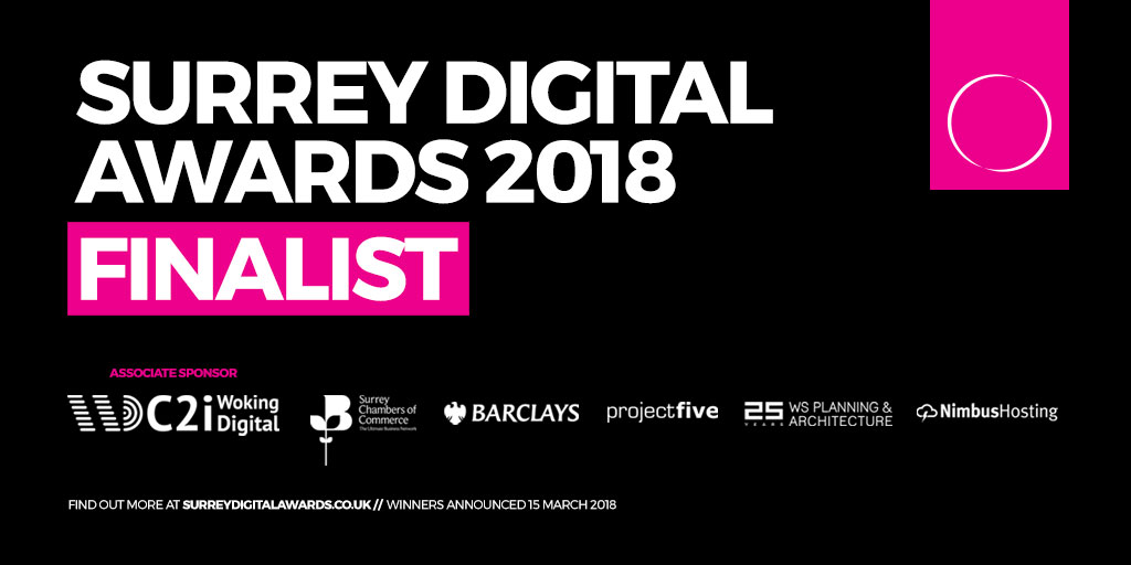NXT shortlisted for 3 awards in the Surrey Digital Awards 2018